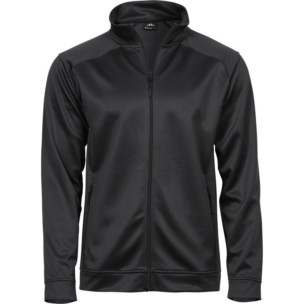 Tee Jays Mens Performance Zip Sweat Jacket (S) (Black)