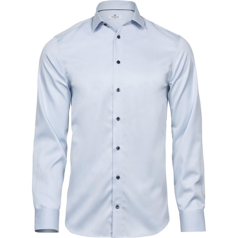 Tee Jays Mens Luxury Slim Fit Shirt (M) (Light Blue/Blue)