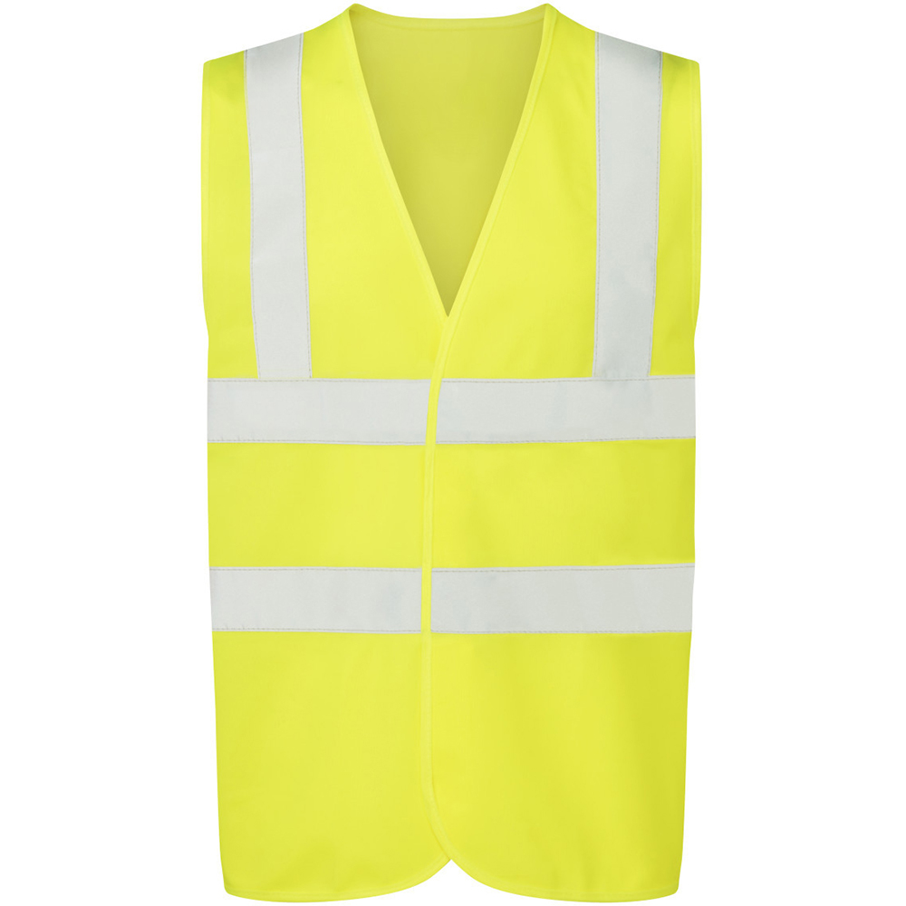 Ultimate Everyday Apparel Mens UCC 4 Band Safety Waistcoat (L) (Hi-Vis Yellow)