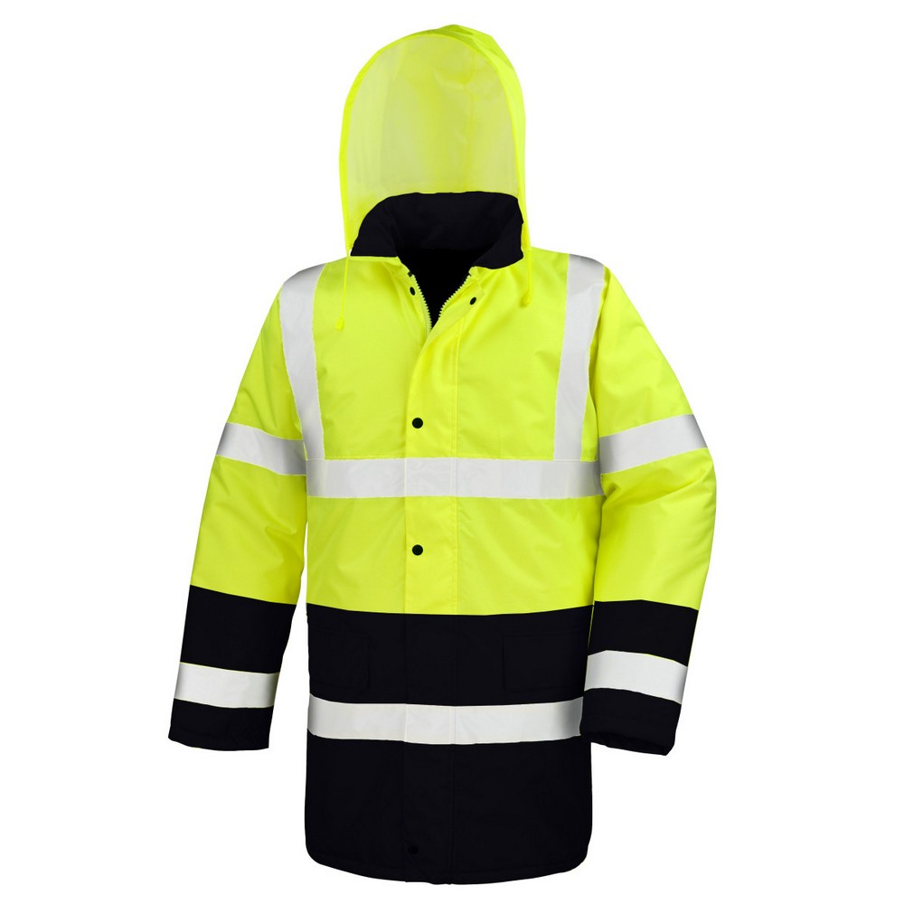 Result Mens Two Tone Safety Coat (2XL) (Fluorescent Yellow/Black)