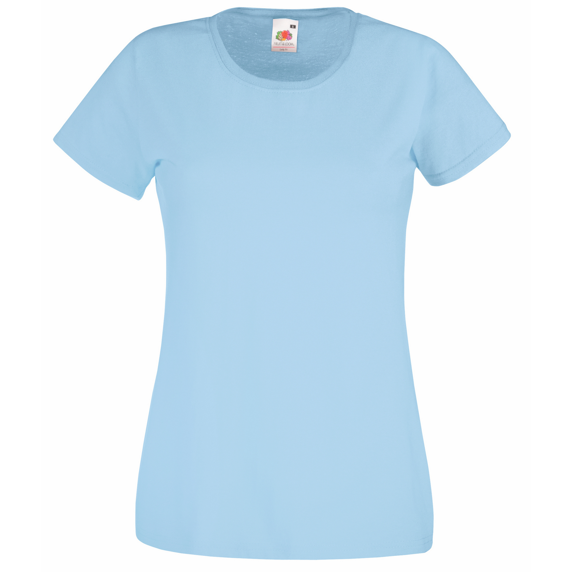 Fruit Of The Loom Ladies/Womens Lady-Fit Valueweight Short Sleeve T-Shirt (Pack Of 5) (L) (Sky Blue)