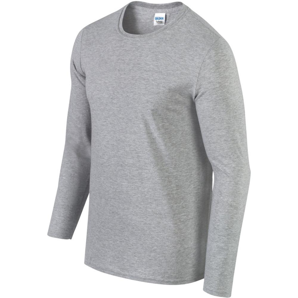 Gildan mens soft style plain basic casual cotton long for Mens long sleeve casual cotton shirts
