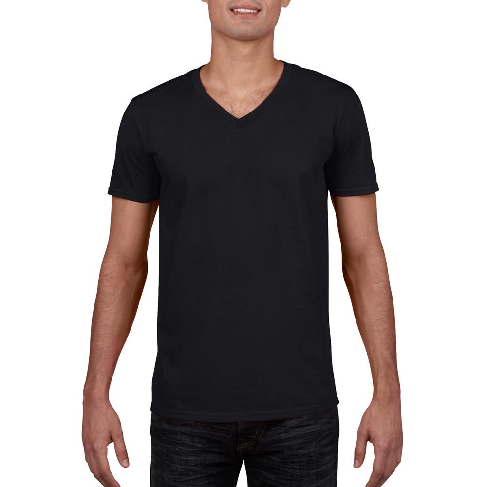 64V00 Pack3 Gildan Men/'s Soft Style V-Neck Double-Needle Short Sleeve T-Shirt