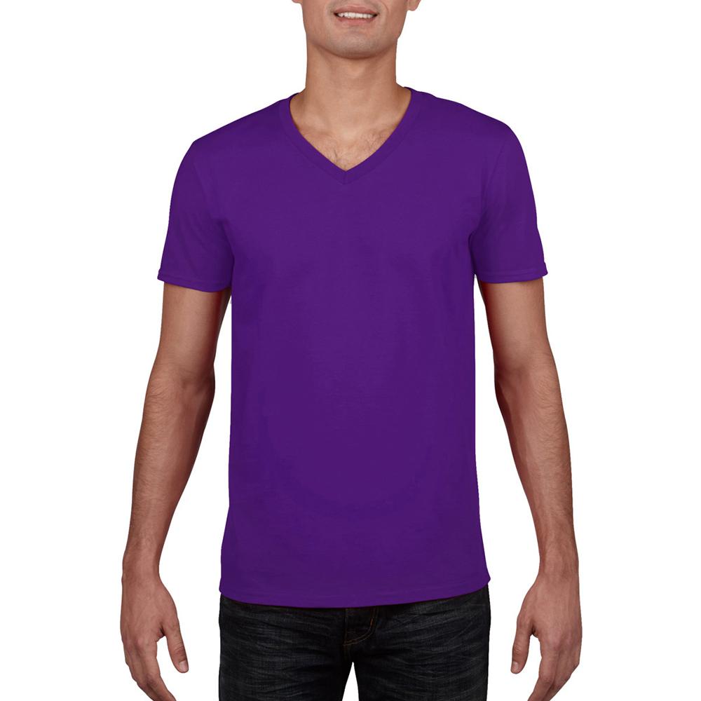 miniature 40 - T-shirt à manches courtes et col en V Gildan, 100% coton, pour homme (BC490)