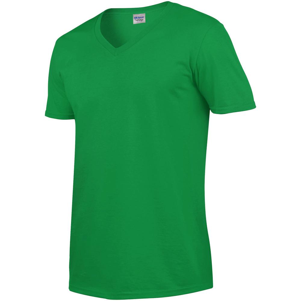 T-shirt À manches courtes et Col en V Gildan 100 coton pour Homme ... 9da9e8a680ee