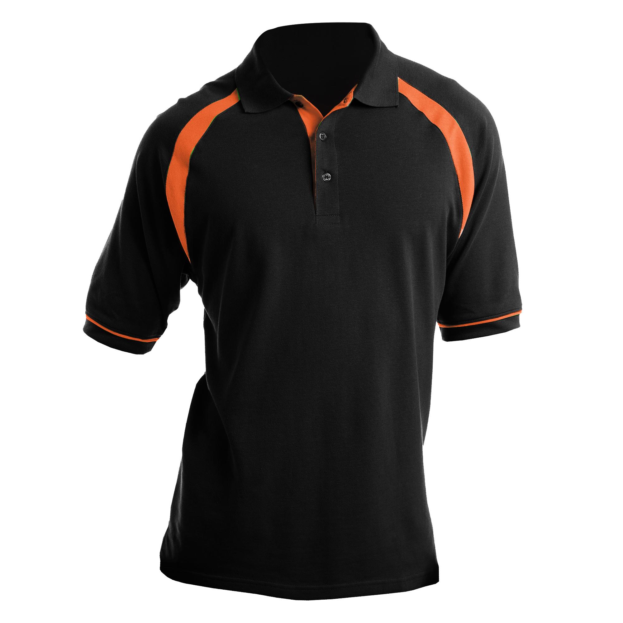 Kustom Kit Oak Hill Mens Short Sleeve Polo Shirt (2XL) (Black/Orange)