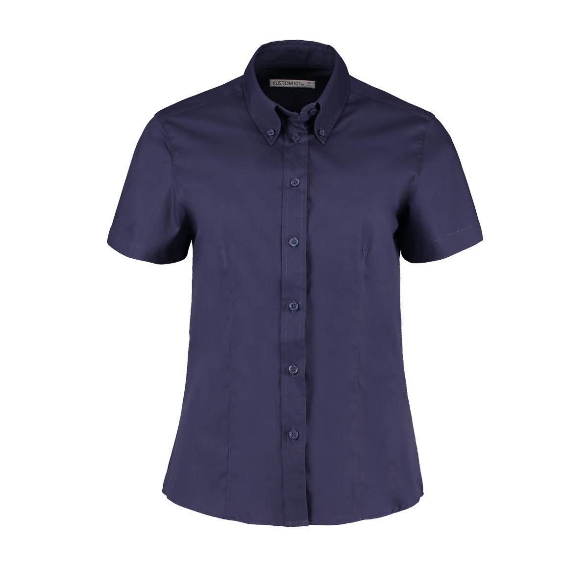 Kustom Kit Ladies Corporate Oxford Short Sleeve Shirt (28) (Red)