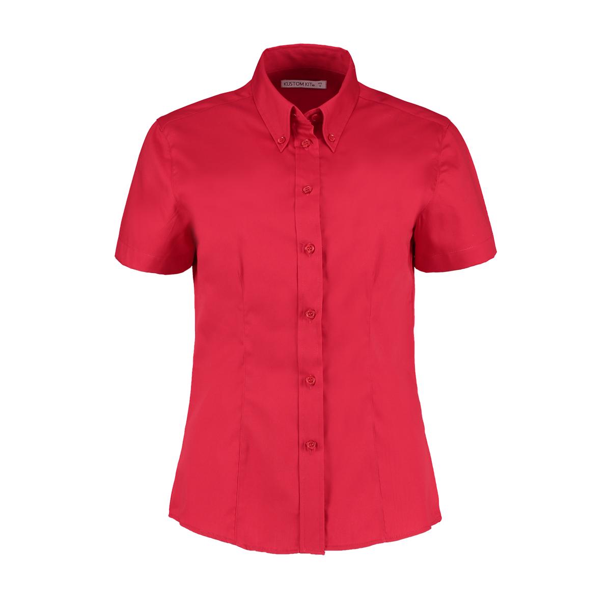 Kustom Kit Ladies Corporate Oxford Short Sleeve Shirt (24) (Silver Grey)