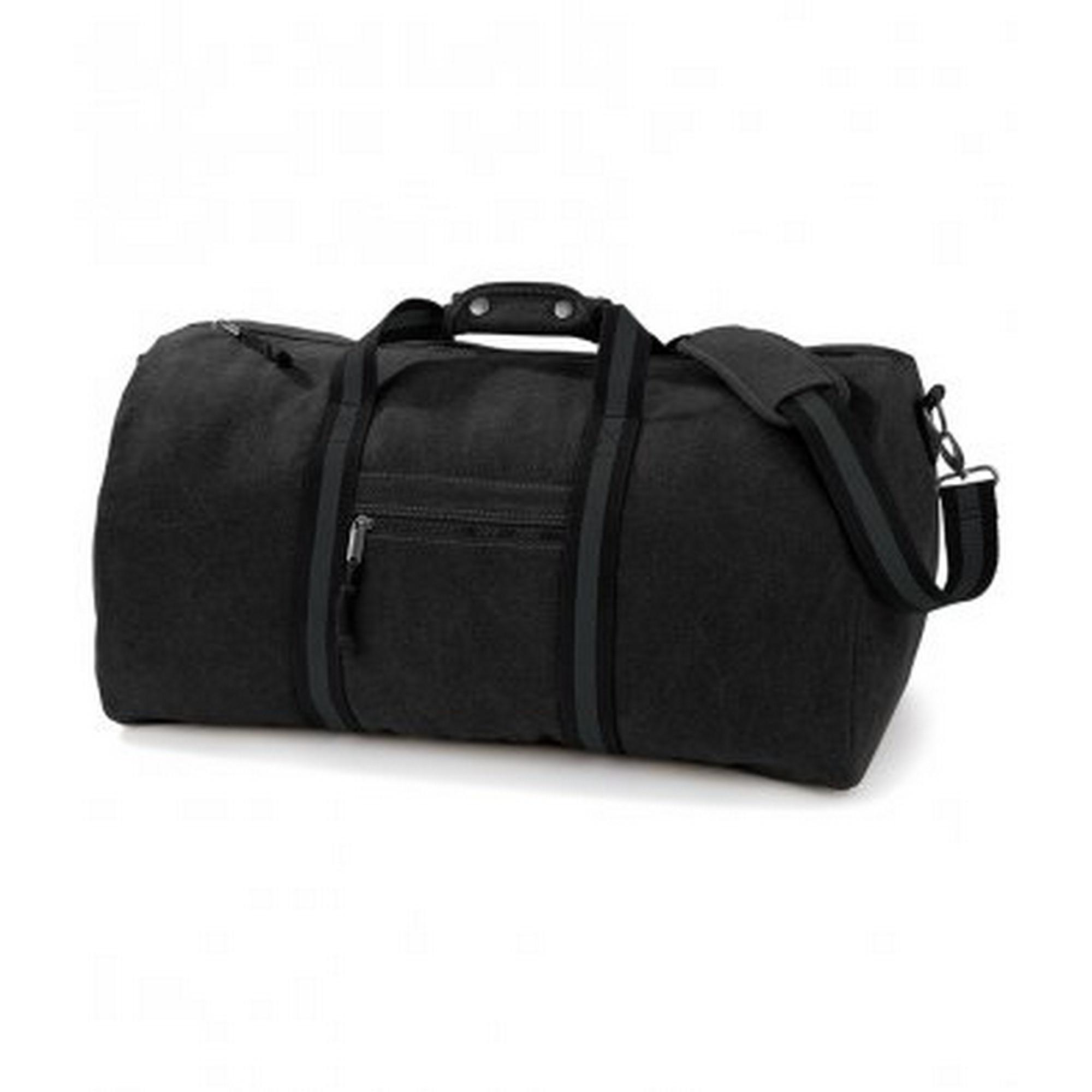 Quadra Vintage Canvas Holdall Duffle Bag - 45 Litres (One Size) (Vintage Black)