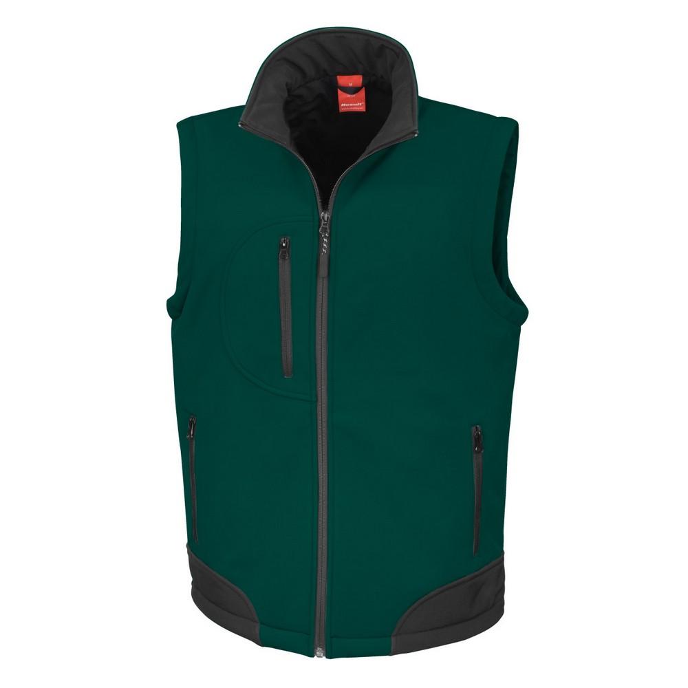 Result Mens Softshell Bodywarmer Breathable Weatherproof Jacket (M) (Bottle Green/Black)