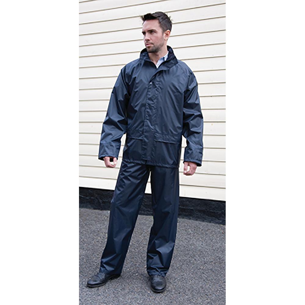 Result Mens Core Rain Suit (Trousers And Jacket Set) (S) (Navy Blue)