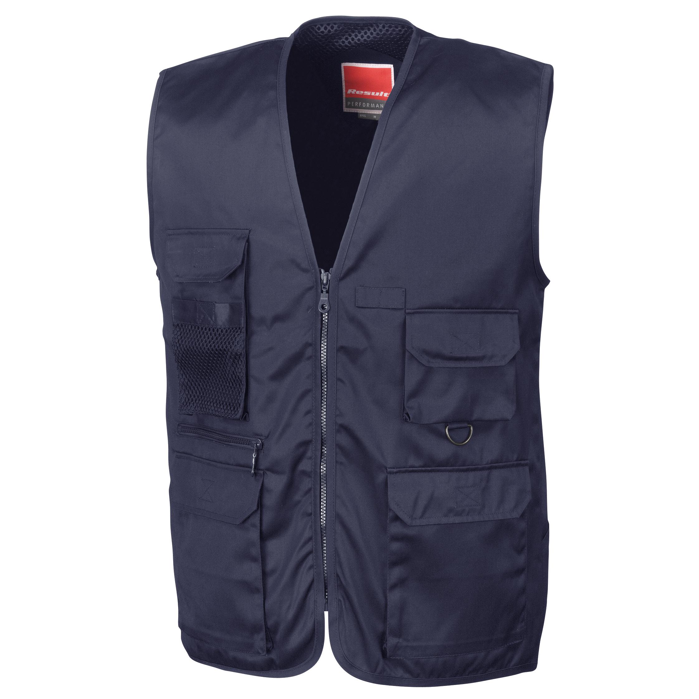 Result Mens Safari Waistcoat Jacket (L) (Midnight Navy)