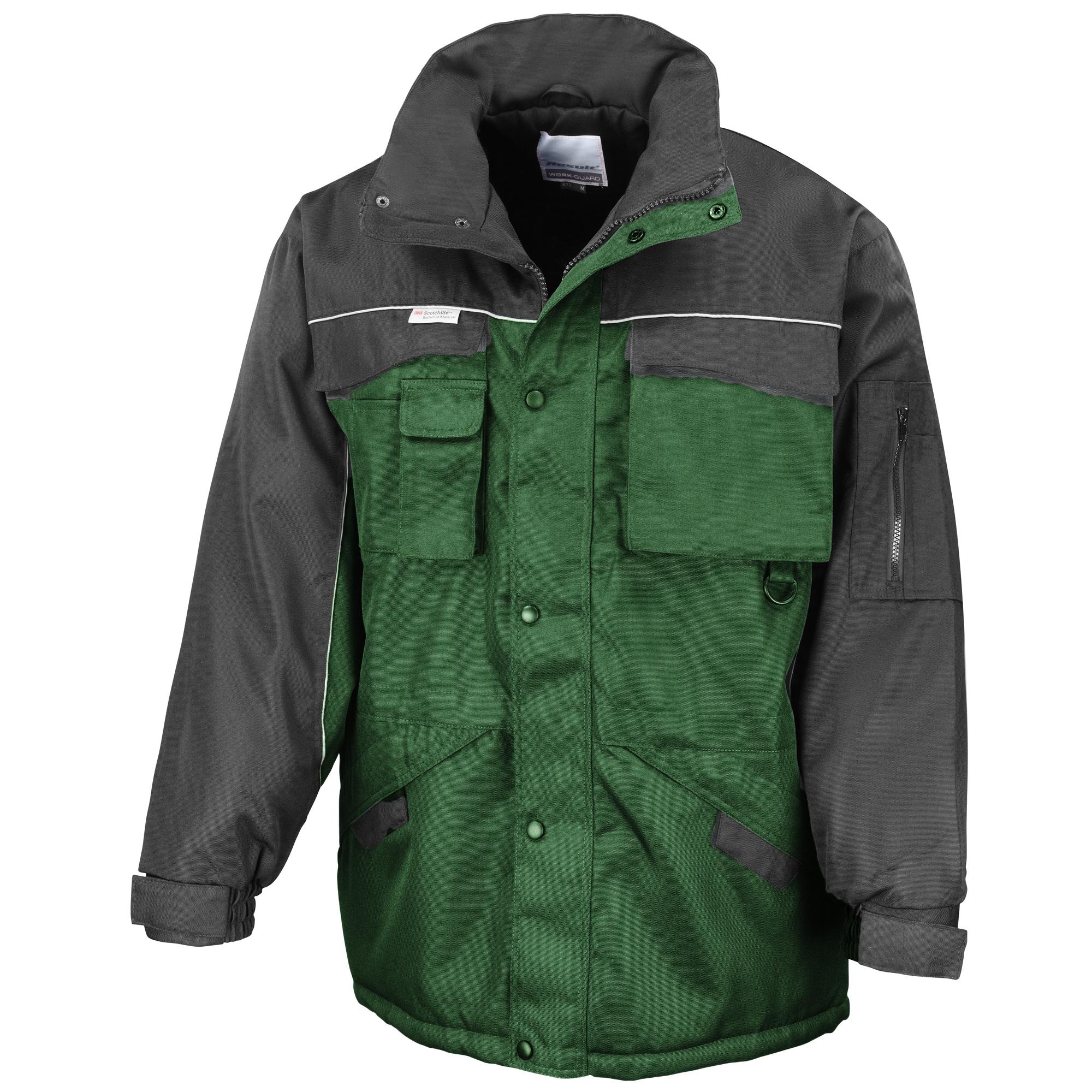 Result Mens Workwear Heavy Duty Water Repellent Windproof Combo Coat (2XL) (Bottle Green/Black)