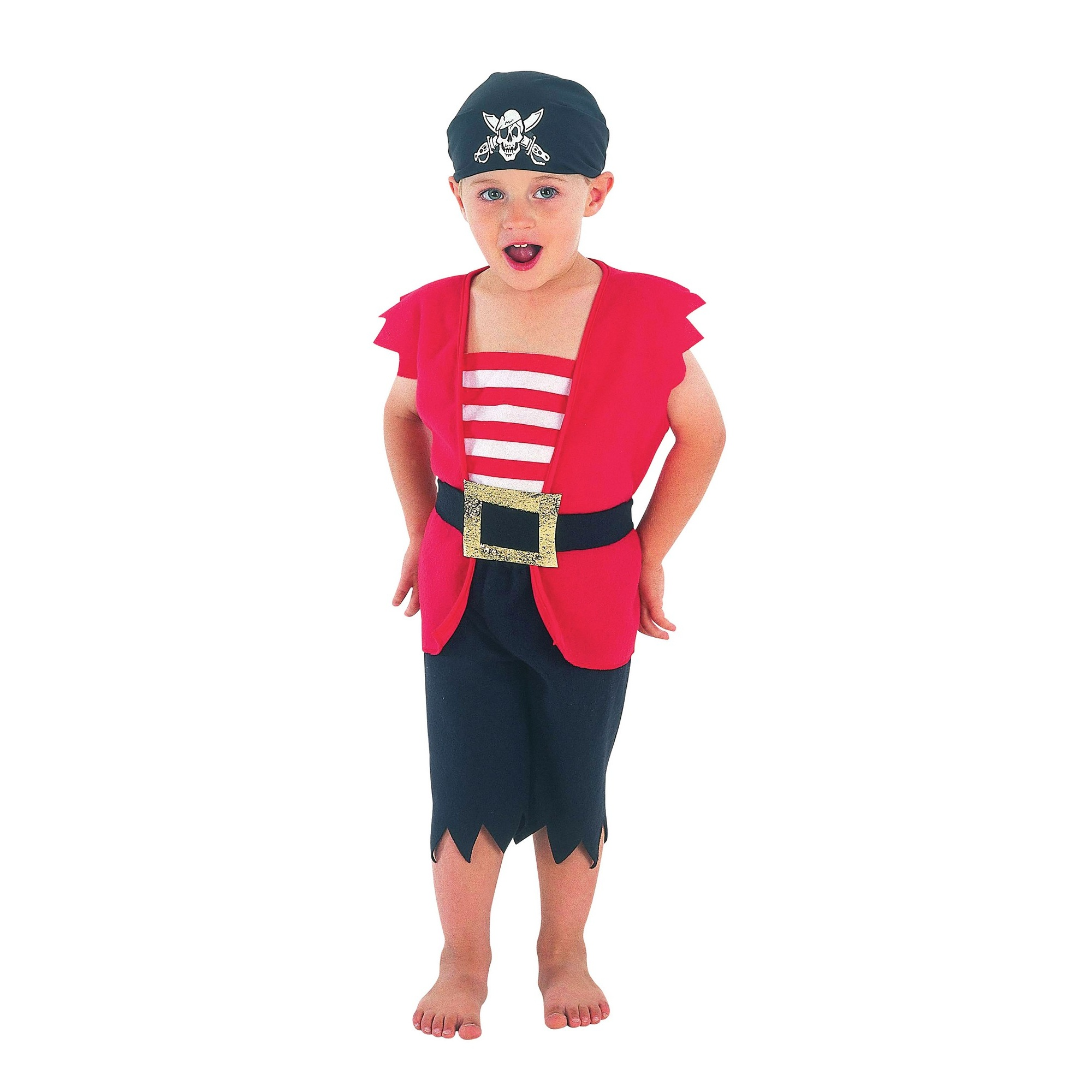 Bristol Novelty Boys Waistcoat And Shorts Pirate Costume (One Size) (Black/Red/White)