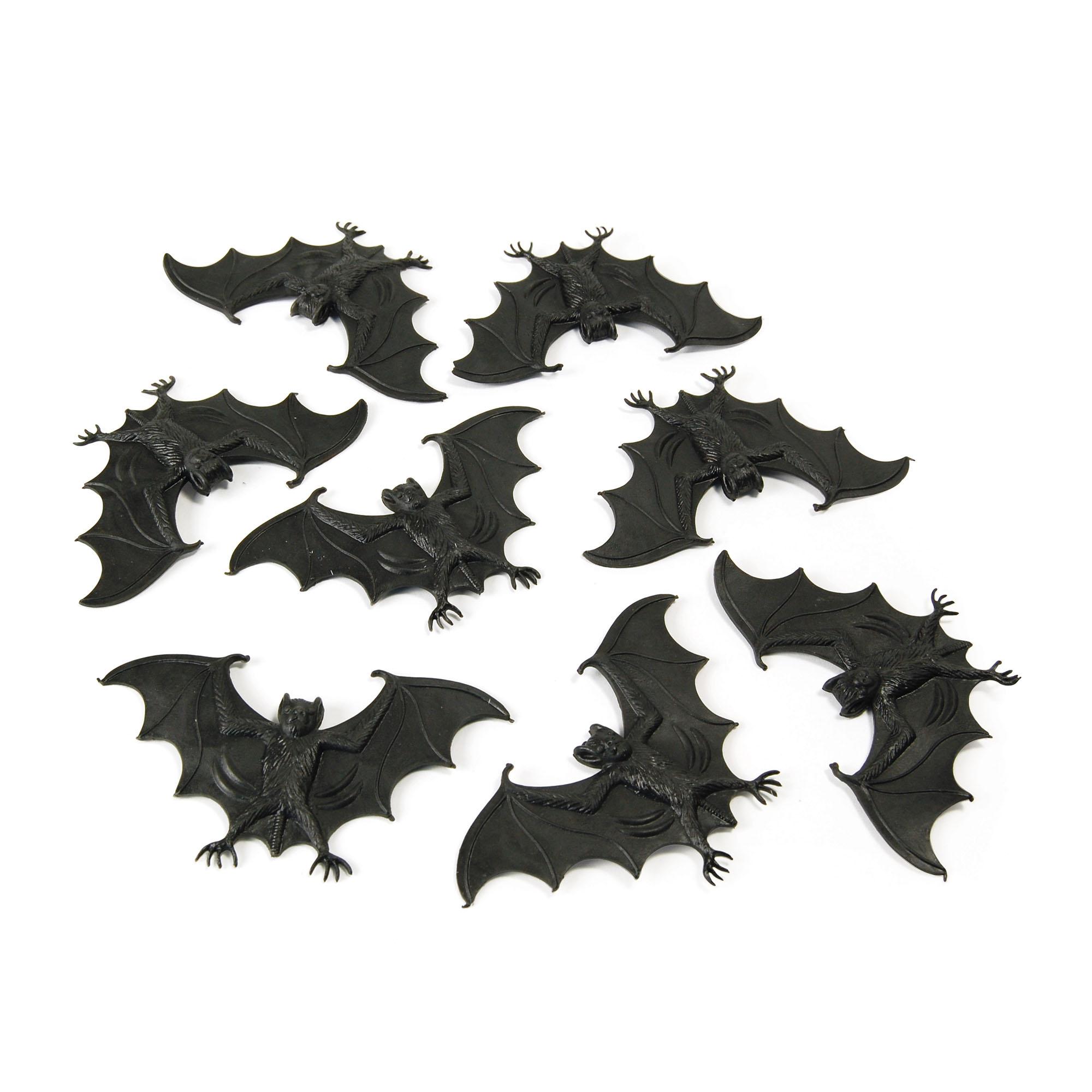 Bristol Novelty Plastic Bats (Pack Of 8) (One Size) (Black)