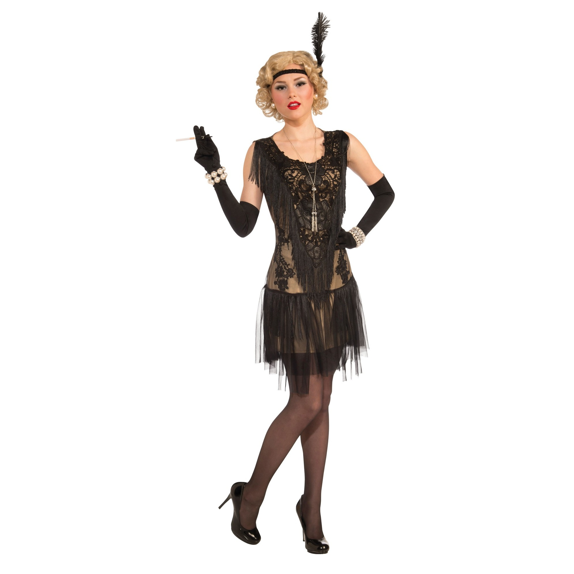 Bristol Novelty Womens/Ladies Lacey Flapper Dress Costume (10-14 UK) (Black)