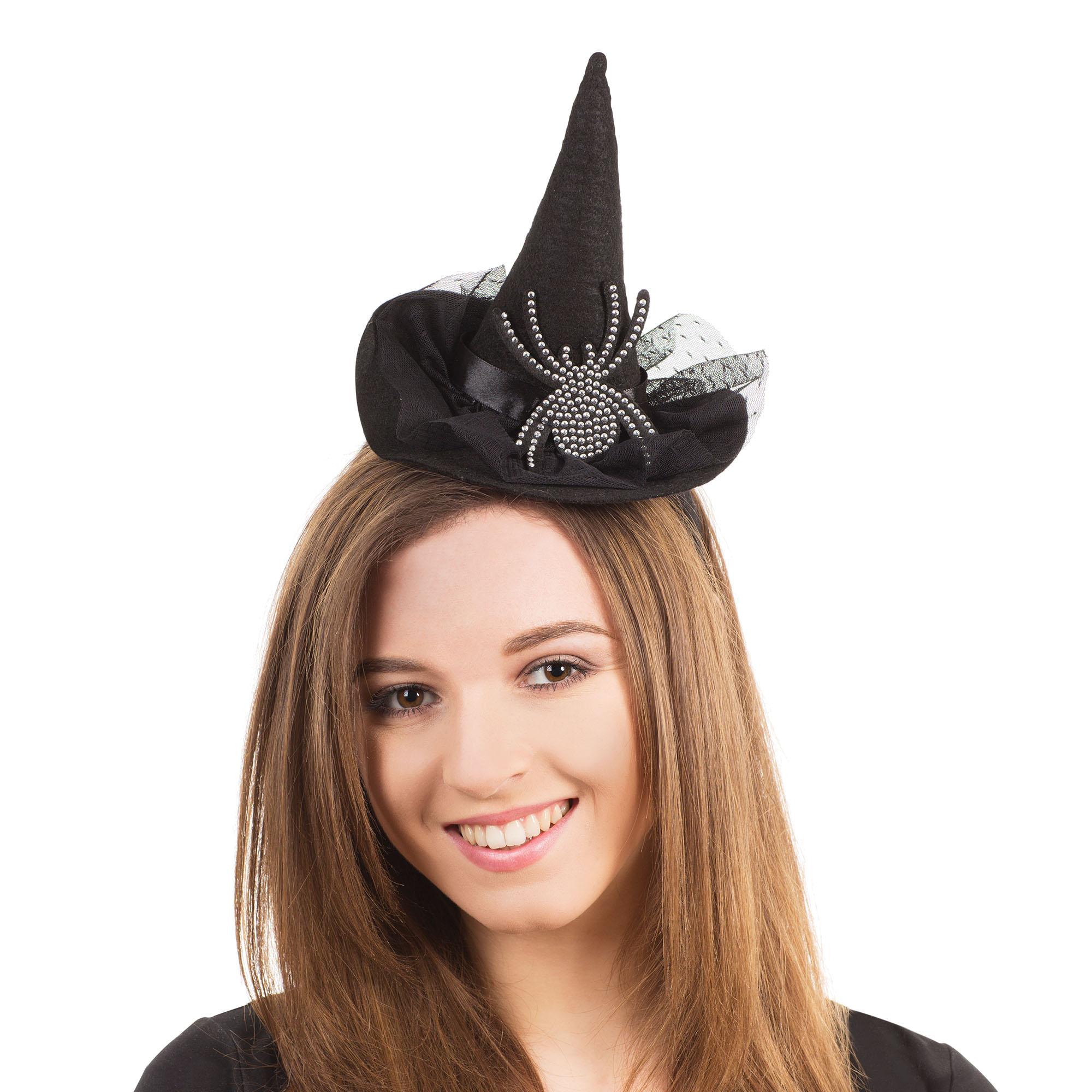 Bristol Novelty Womens Diamante Spider Witch Hat (One Size) (Black)