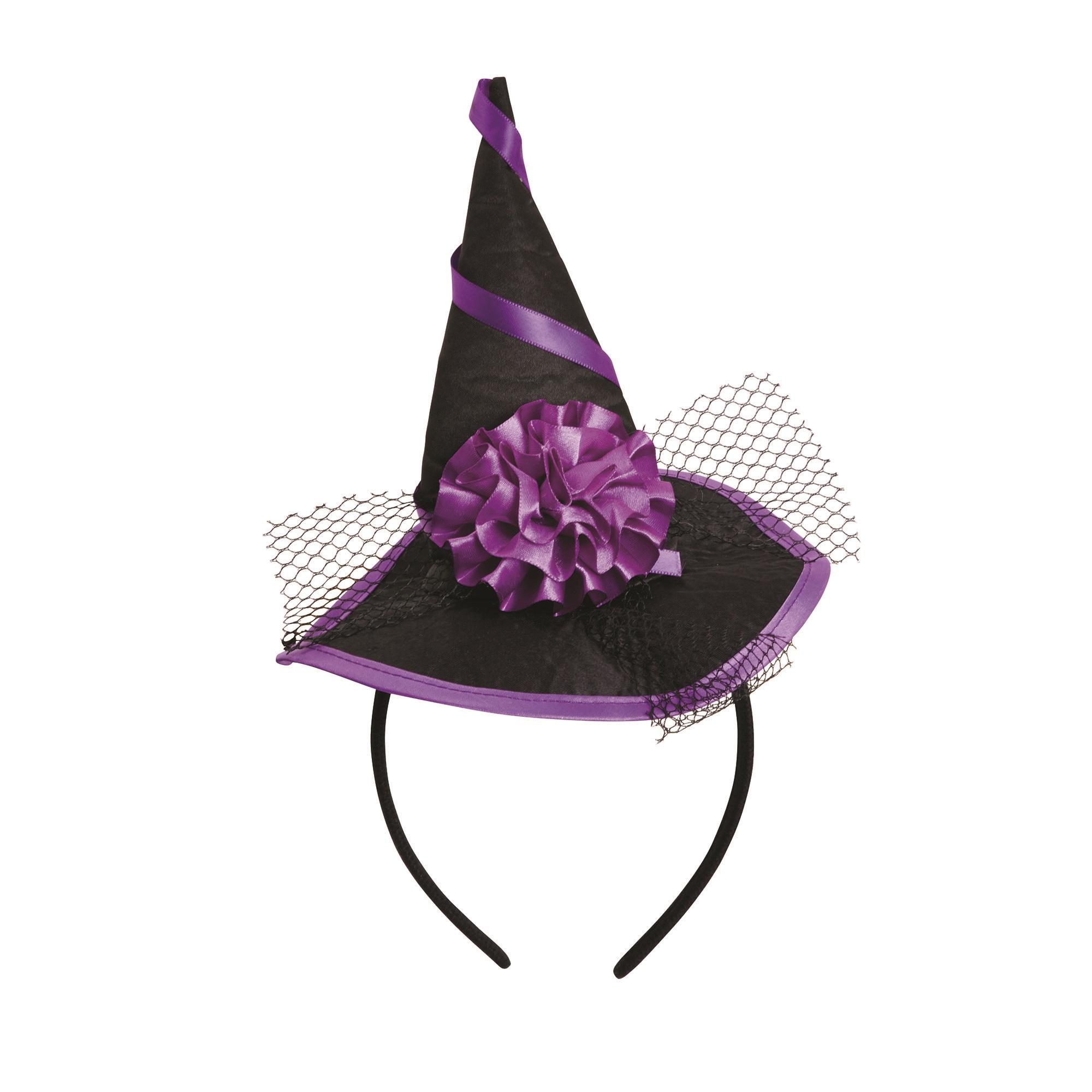 Bristol Novelty Womens Purple Ribbon Witch Hat (One Size) (Black/Purple)