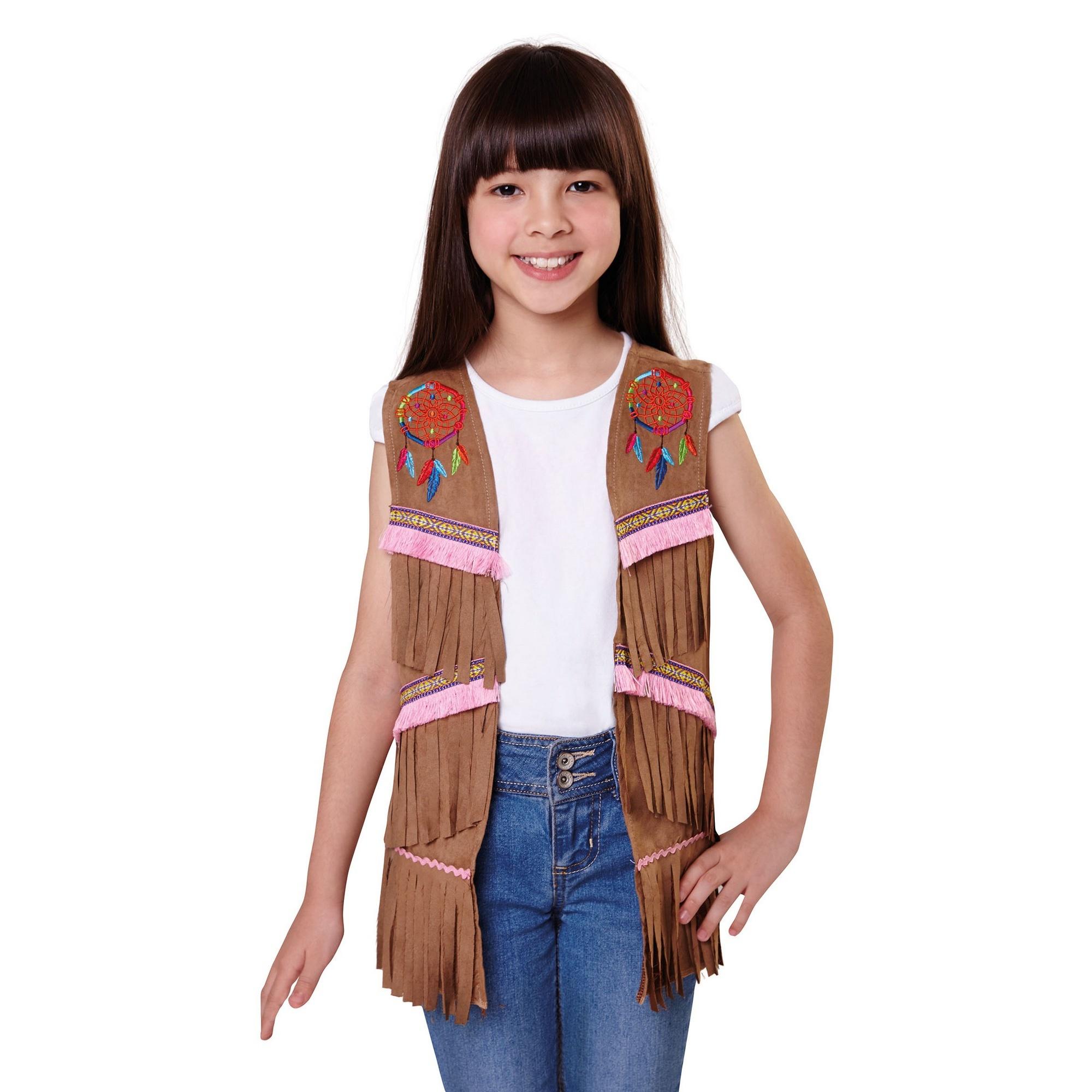 Bristol Novelty Girls Native American Style Waistcoat (S) (Brown)