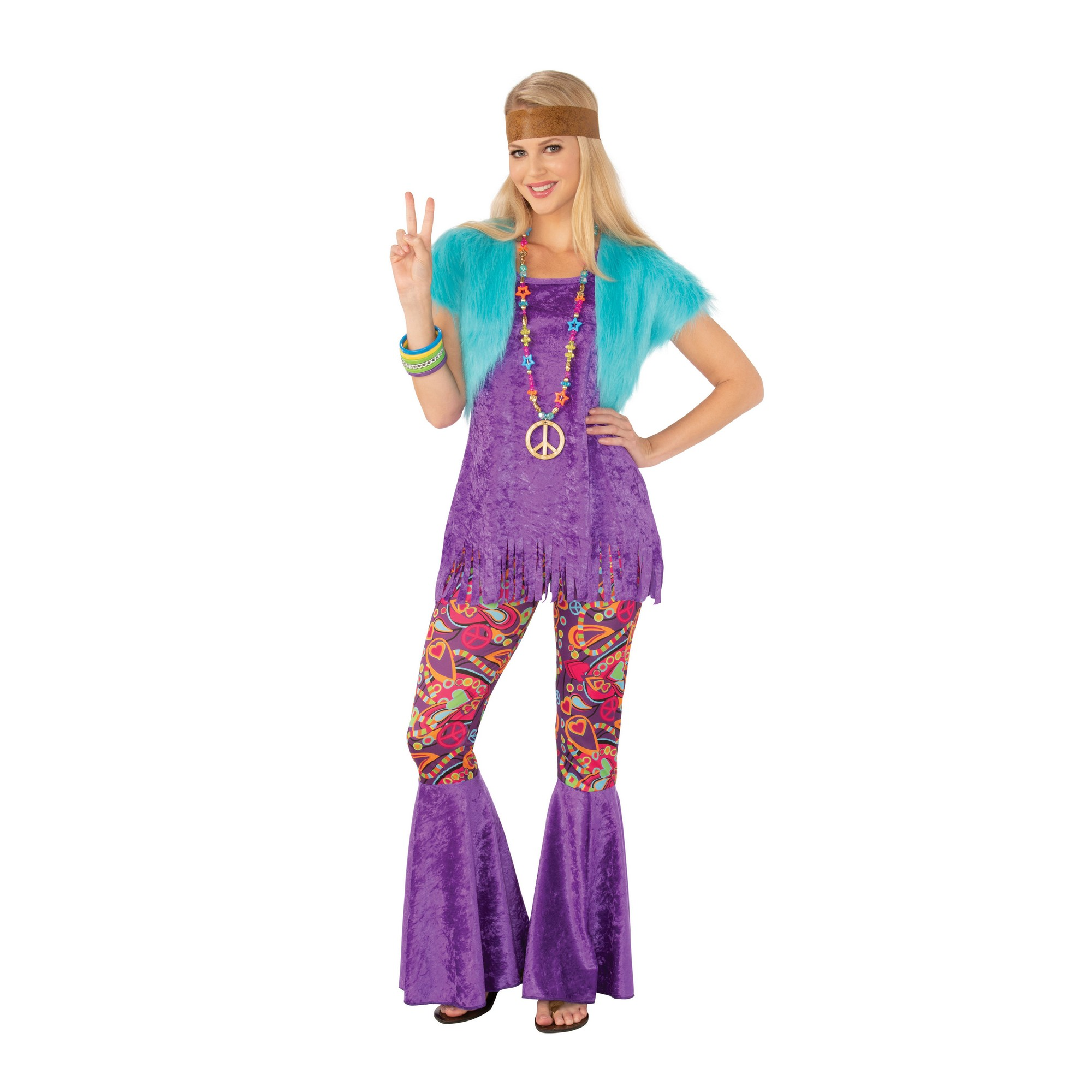 Bristol Novelty Womens/Ladies Groovy Girl Hippy Costume (L) (Purple)