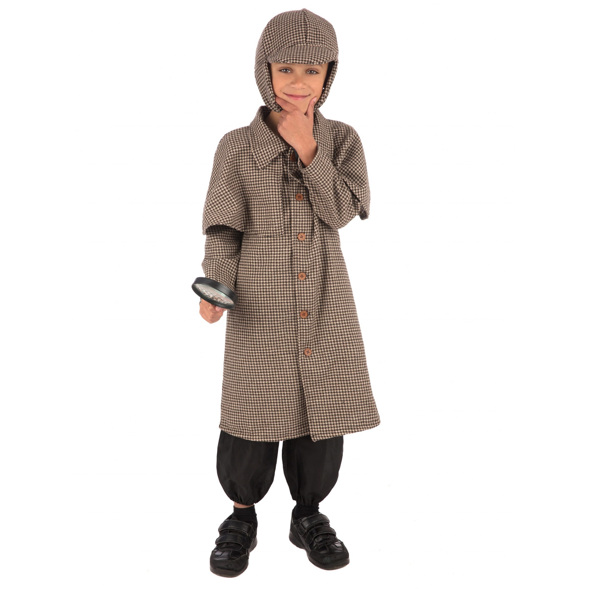 Bristol Novelty Boys Long Detective Coat Costume (S) (Brown)