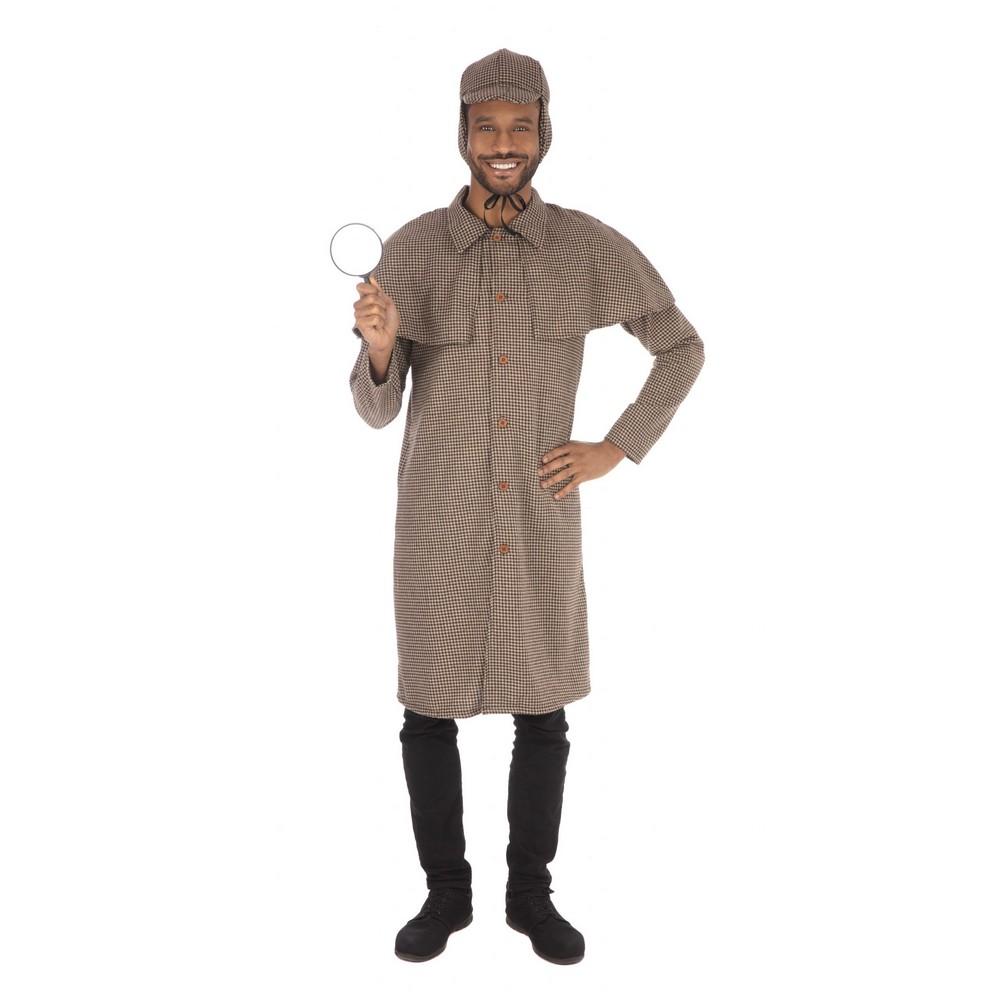 Bristol Novelty Mens Long Detective Costume (XL) (Tweed)