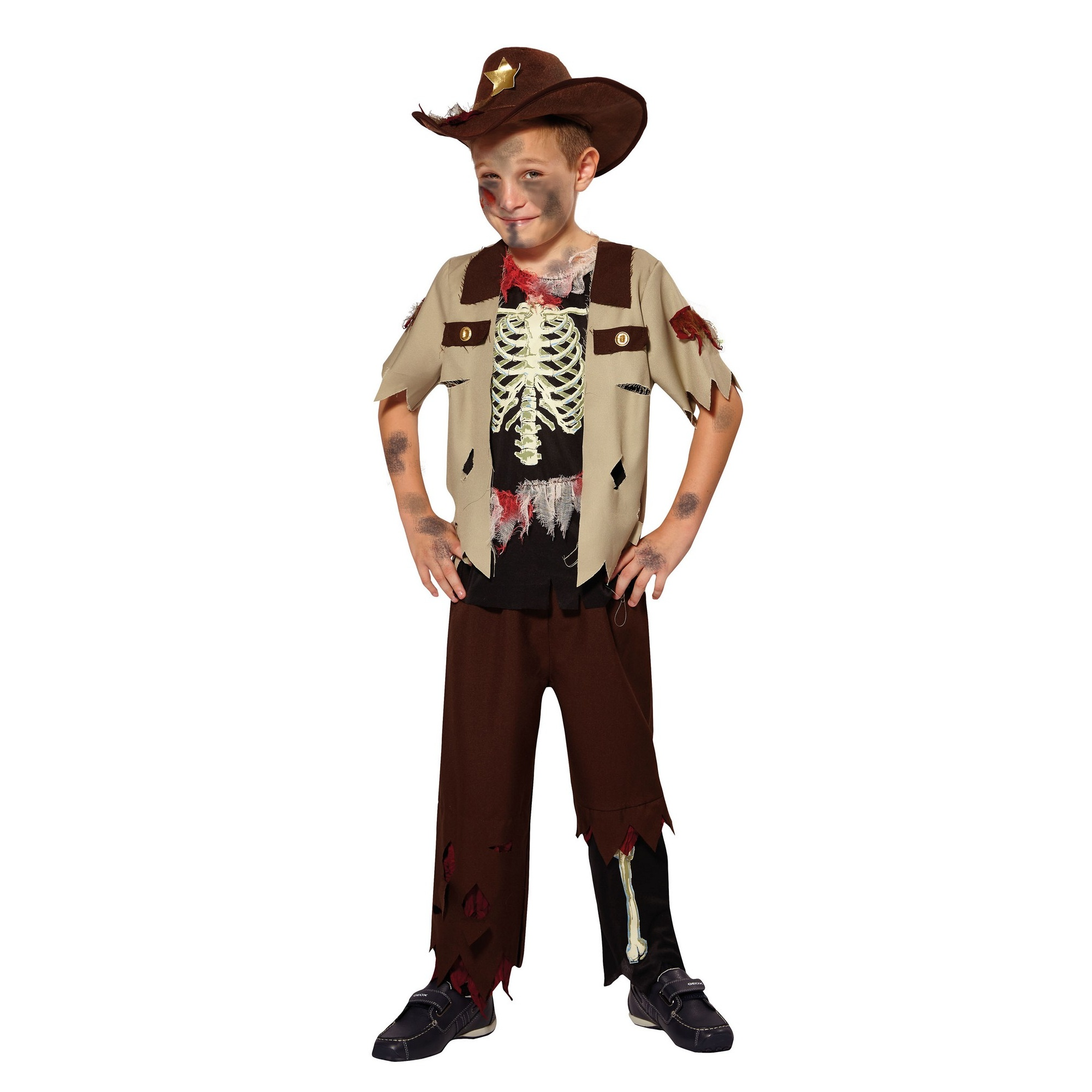 Bristol Novelty Childrens/Kids Skeleton Sheriff Costume (M) (Brown/Black)