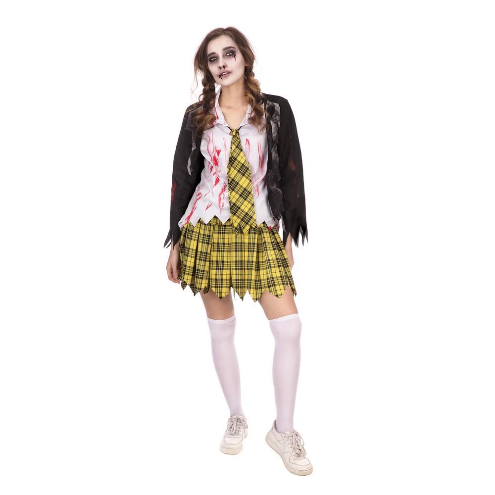 Bristol Novelty Womens/Ladies Zombie School Girl Halloween Costume (L) (Yellow/Black/White)