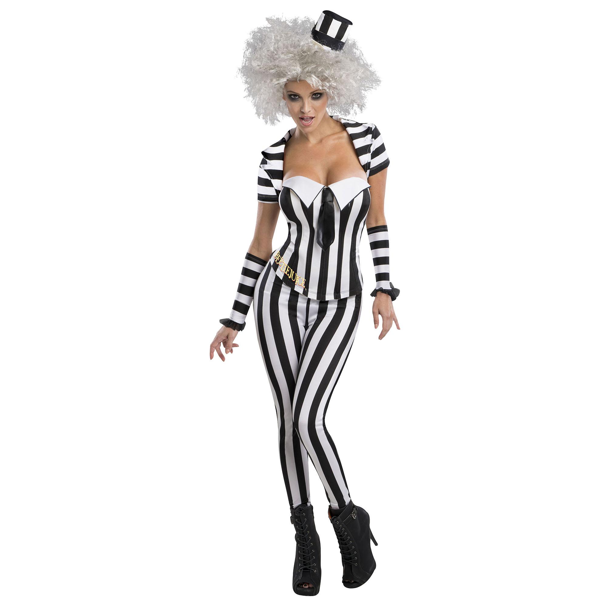 Beetlejuice Womens/Ladies Striped Corset (M) (Black/White)