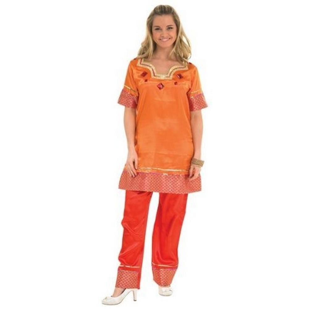 Bristol Novelty Womens/Ladies Orange Bollywood Dancer Costume (S) (Orange)
