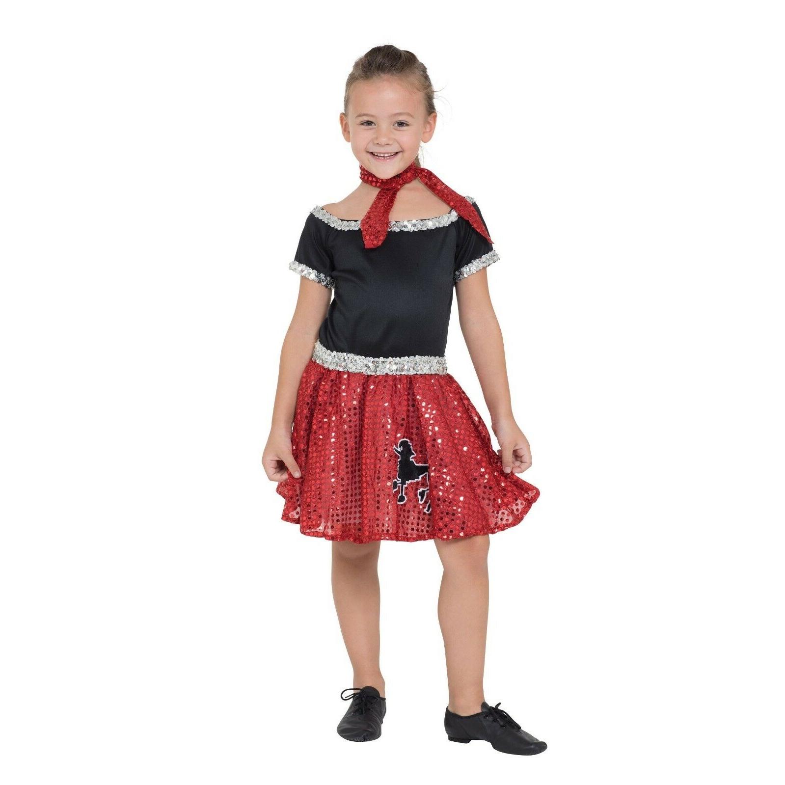 Bristol Novelty Childrens/Girls Rock N Roll Sequin Dress (M) (Red/Black)