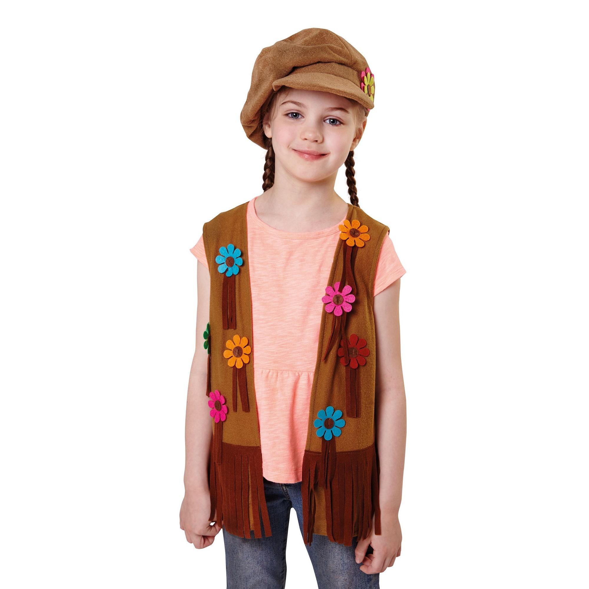 Bristol Novelty Girls Hippy Waistcoat (S) (Brown/Blue/Pink/Orange)