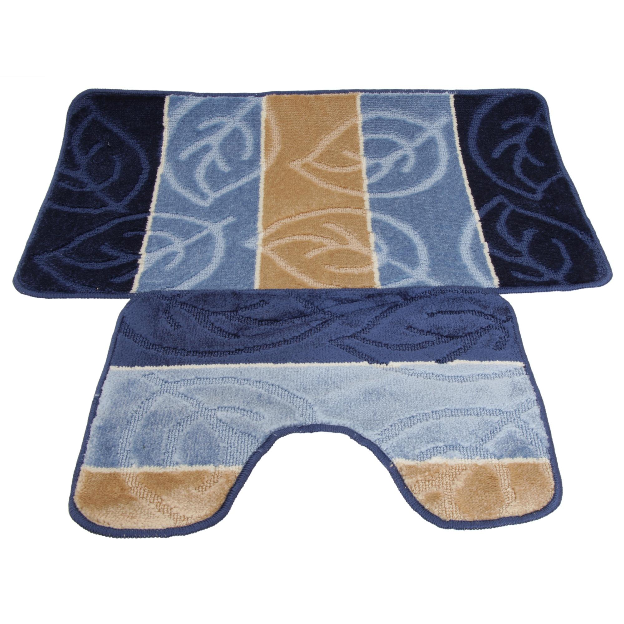 2 Piece Leaf Design Bath Mat And Pedestal Mat Set (5 Options) (BR190 on leaf design curtains, leaf design sheets, leaf design furniture, leaf design rugs,