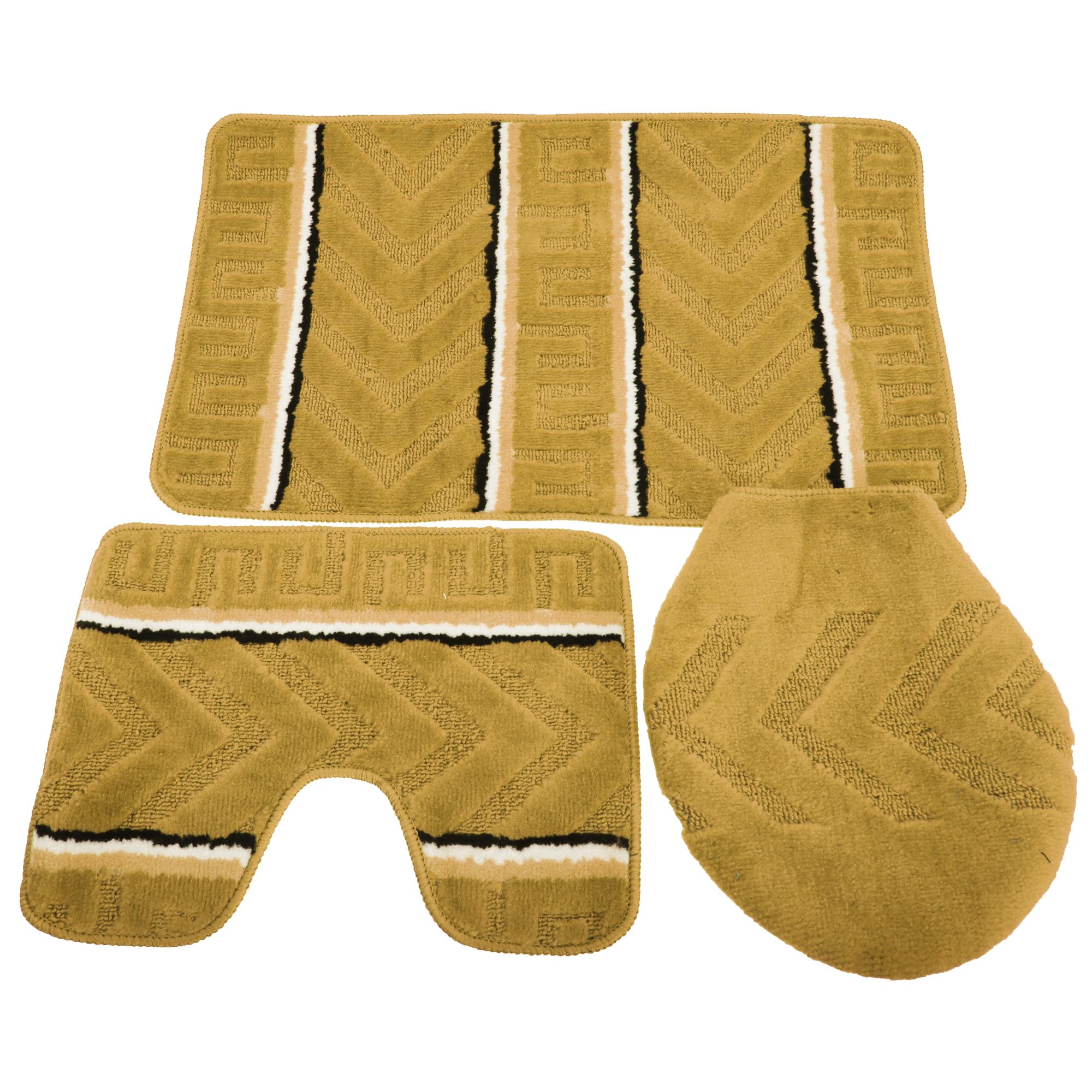 badematten set mit streifen und pfeil muster 3 teilig br286 ebay. Black Bedroom Furniture Sets. Home Design Ideas