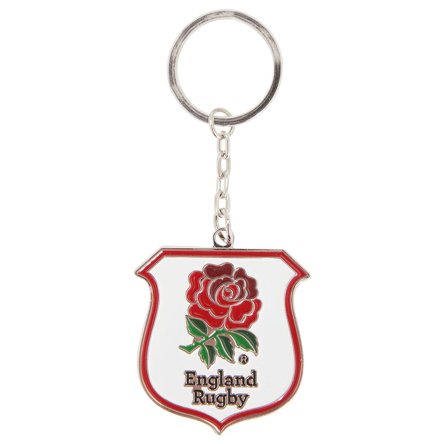 England RFU Rugby Crest Keyring (One Size) (White/Red)