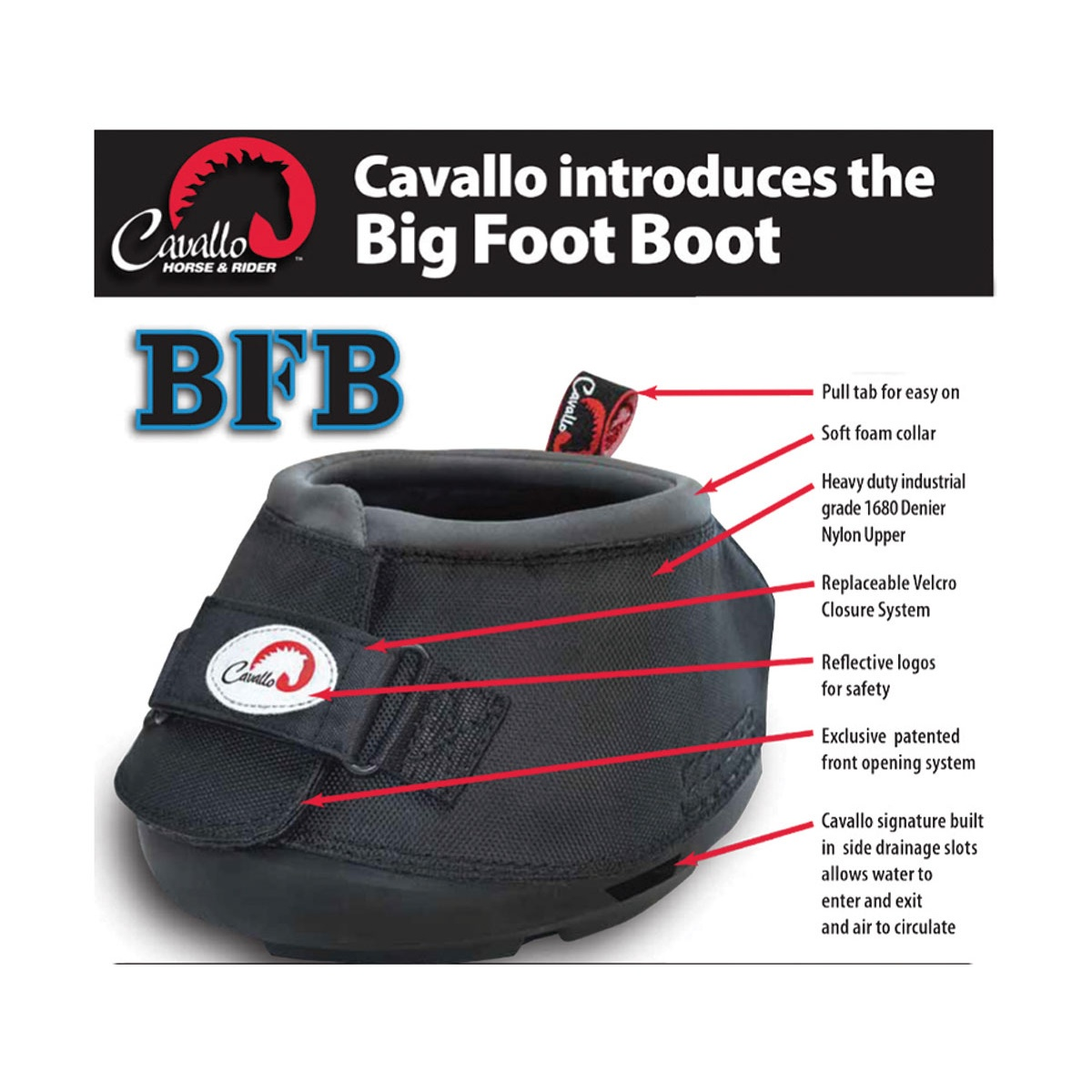 thumbnail 4 - Cavallo-Big-Foot-Touch-Fastening-Horse-Boot-BZ1330