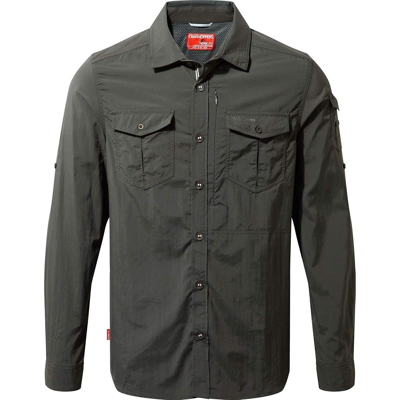 Craghoppers Mens NosiLife Adventure II Long Sleeved Shirt (3XL) (Black Pepper)