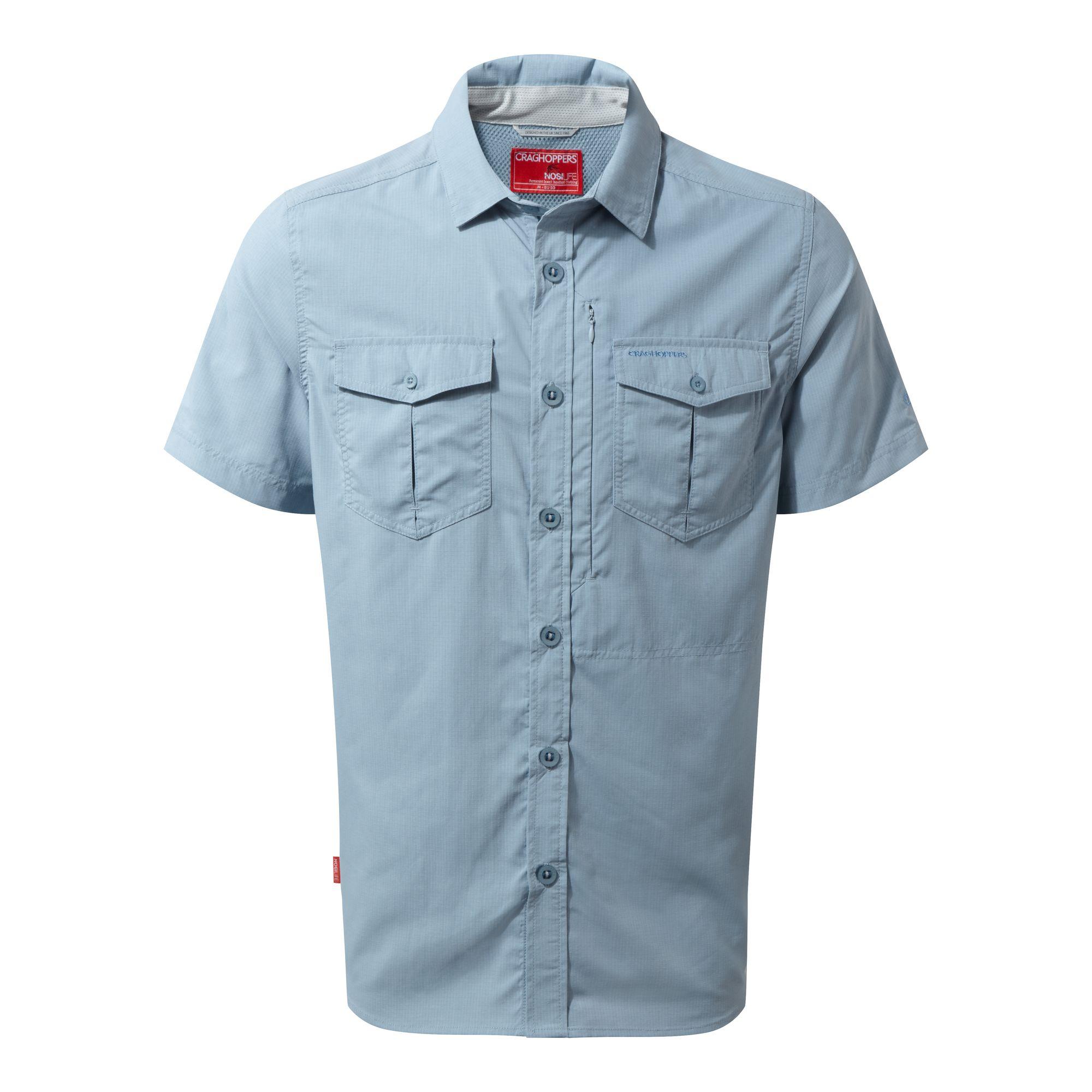 Craghoppers Mens NosiLife Adventure II Short Sleeved Shirt (S) (Fogle Blue)