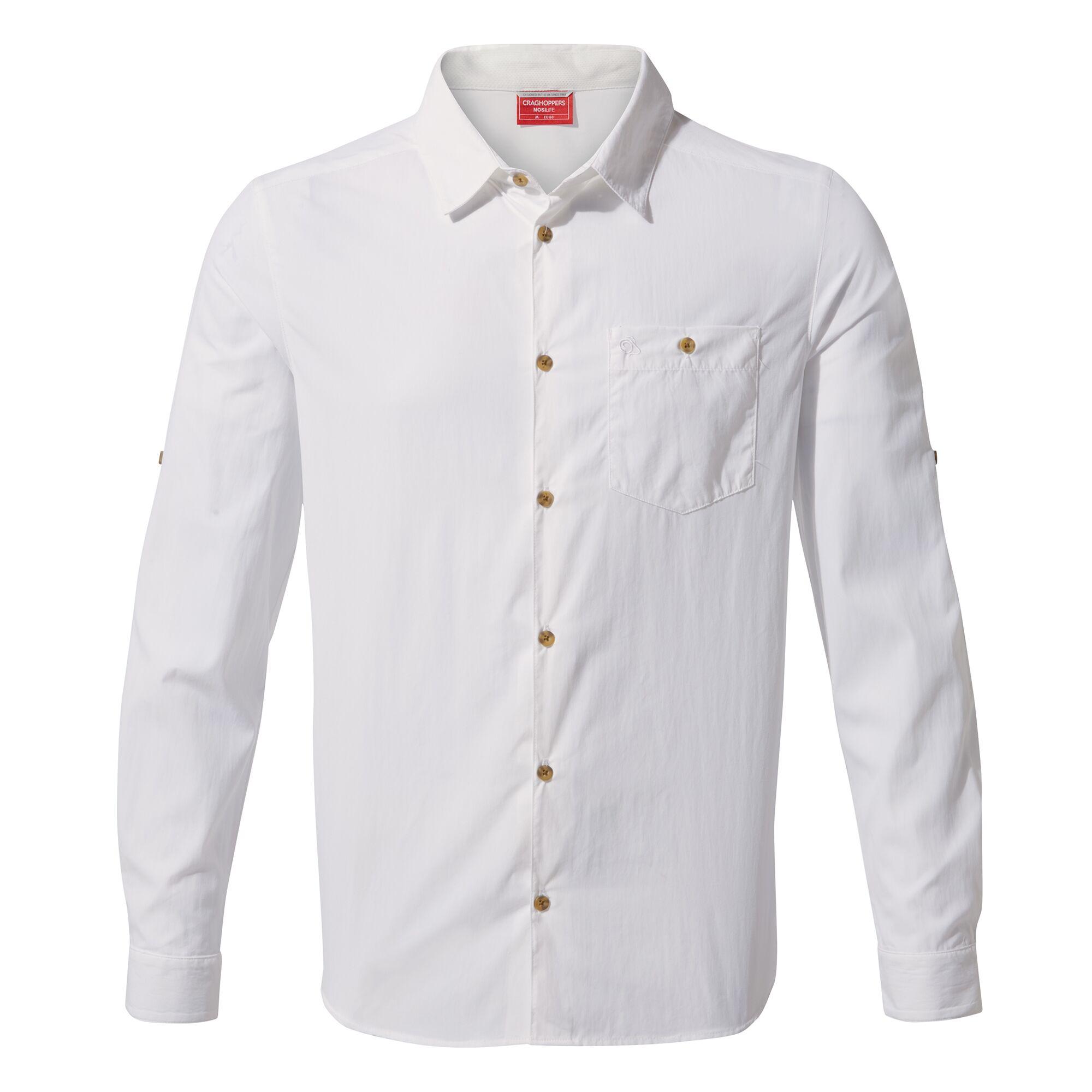 Craghoppers Mens NosiLife Nuoro Long Sleeved Shirt (XL) (Optic White)