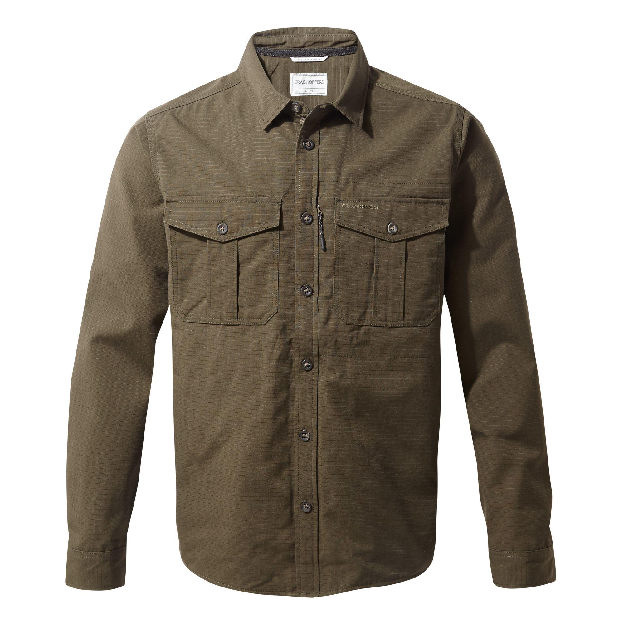 Craghoppers Mens Kiwi Ripstop Long Sleeve Shirt (XXL) (Woodland Green)
