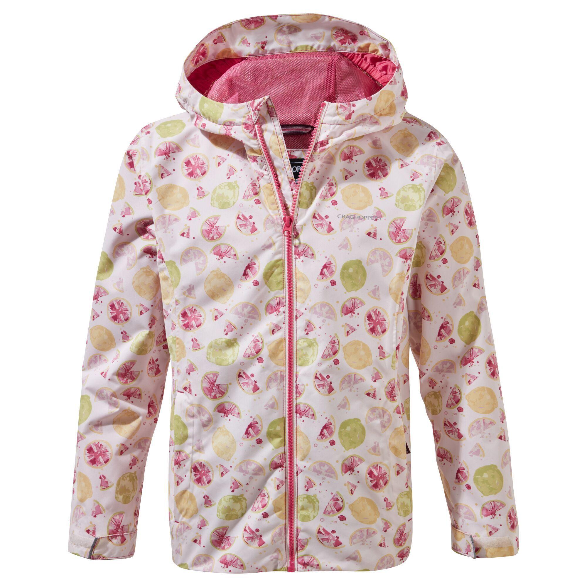 Craghoppers Childrens/Kids Landry Berry Coat (5-6 Years) (Raspberry/White/Lemon Yellow)