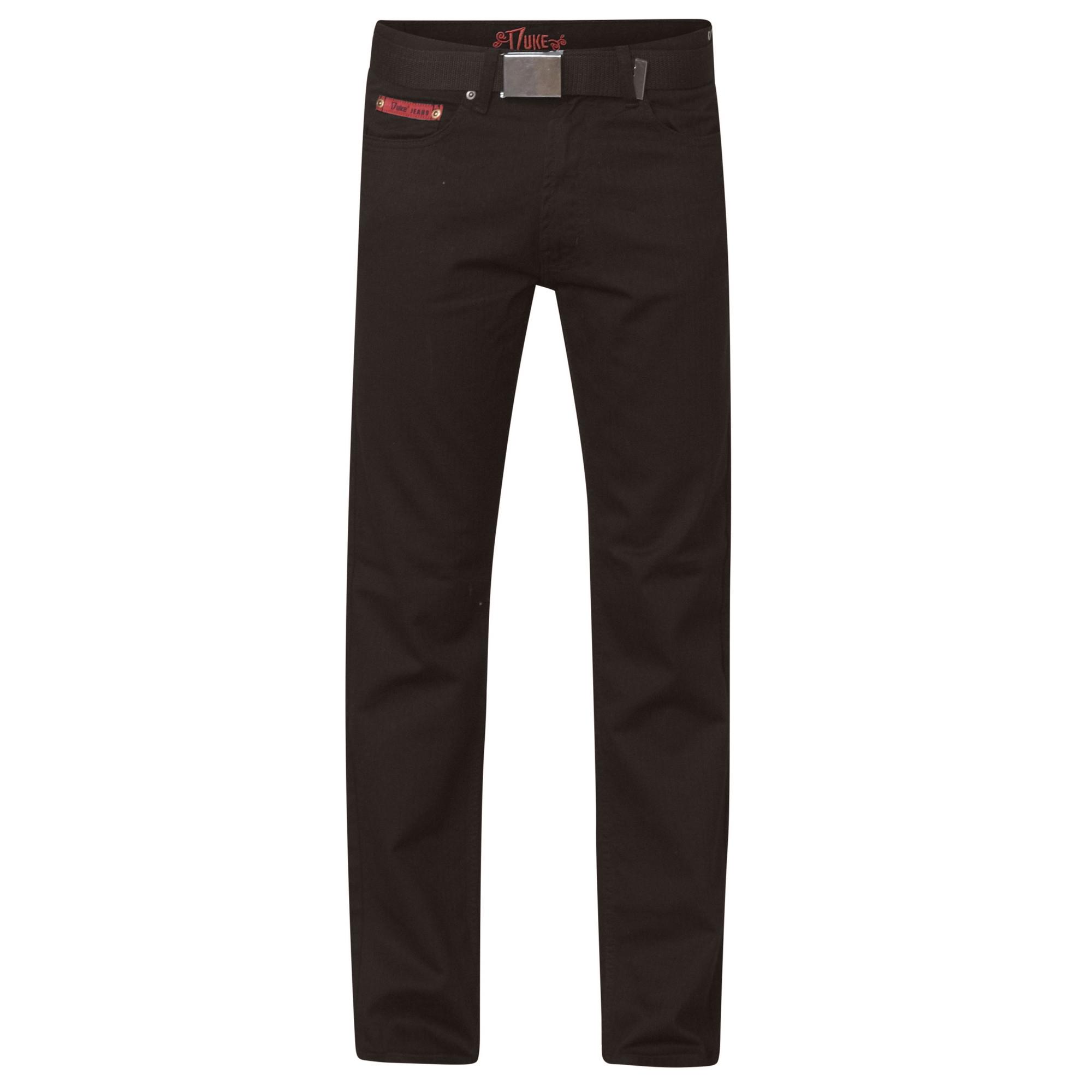 Duke London Mens Mario Bedford Cord Trousers With Belt (30R) (Black)