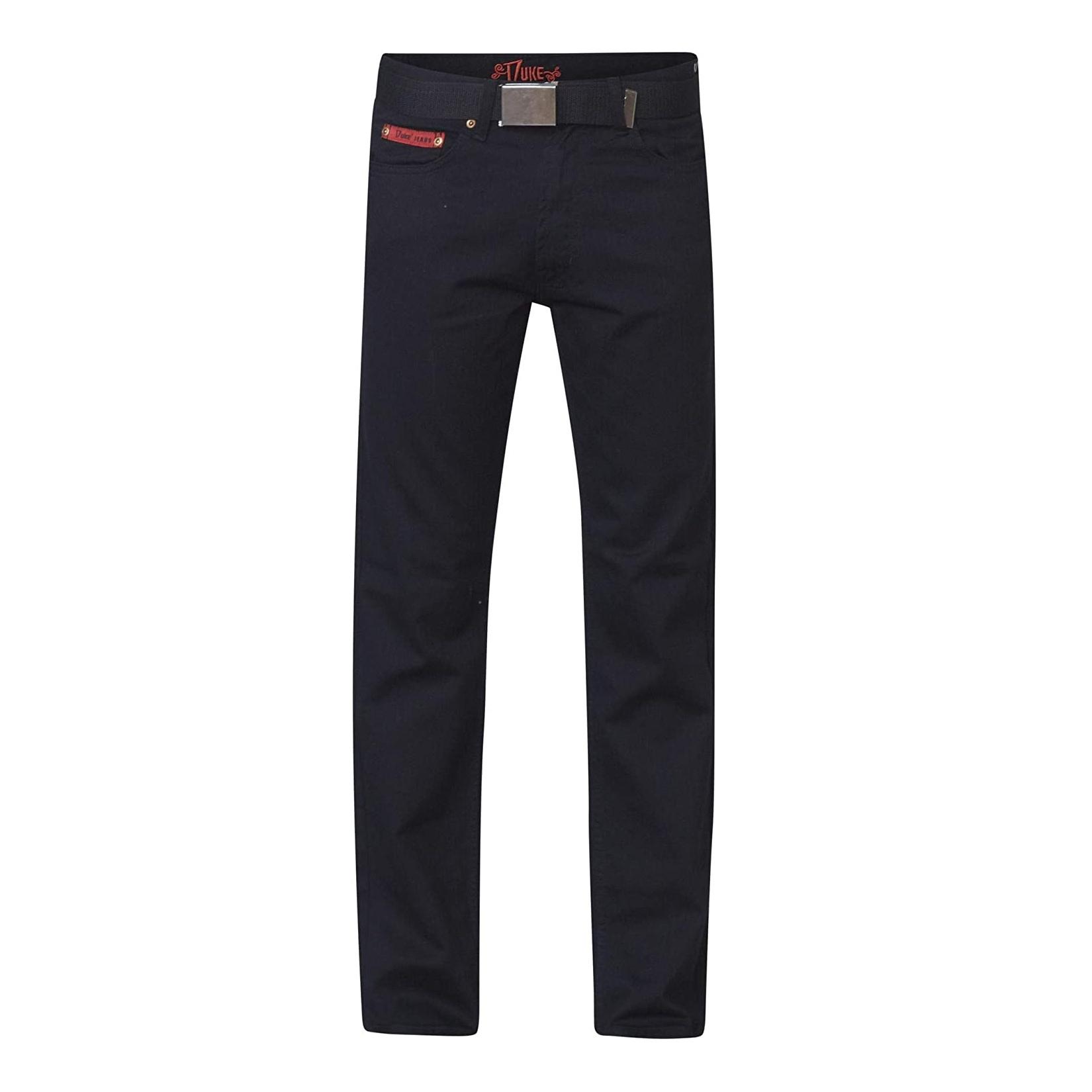 Duke London Mens Kingsize Mario Bedford Cord Trousers With Belt (48R) (Black)