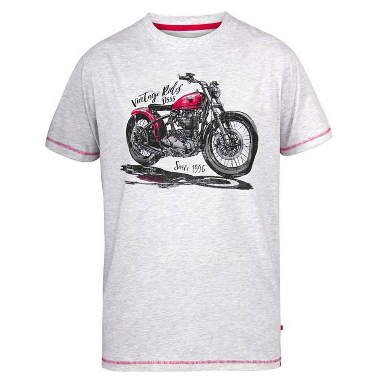 Duke Mens Miles D555 Vintage Rides Motorbike T-Shirt (3XL) (Off-White Marl)
