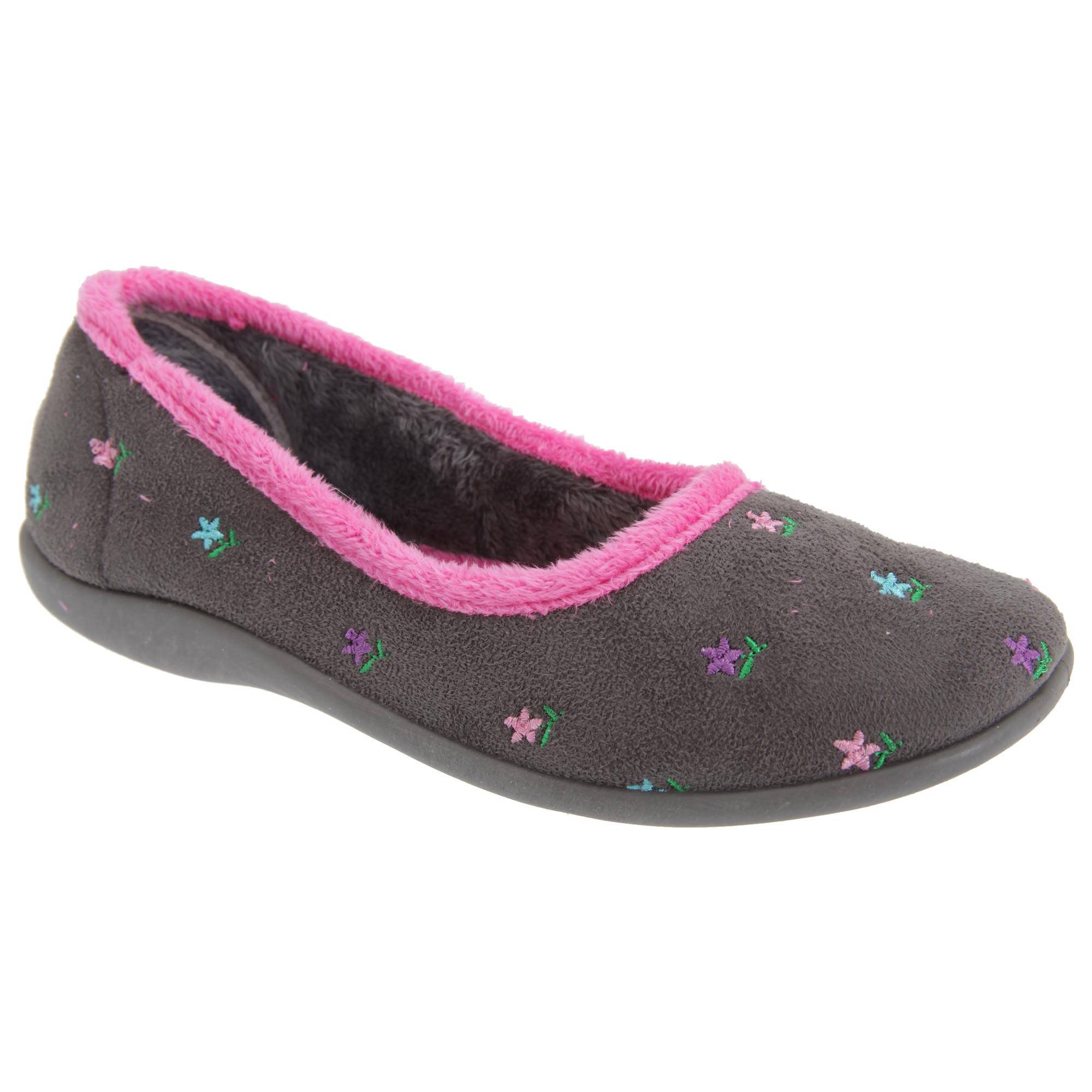 Sleepers Womens/Ladies Angel Floral Ballerina Slippers (DF1057)