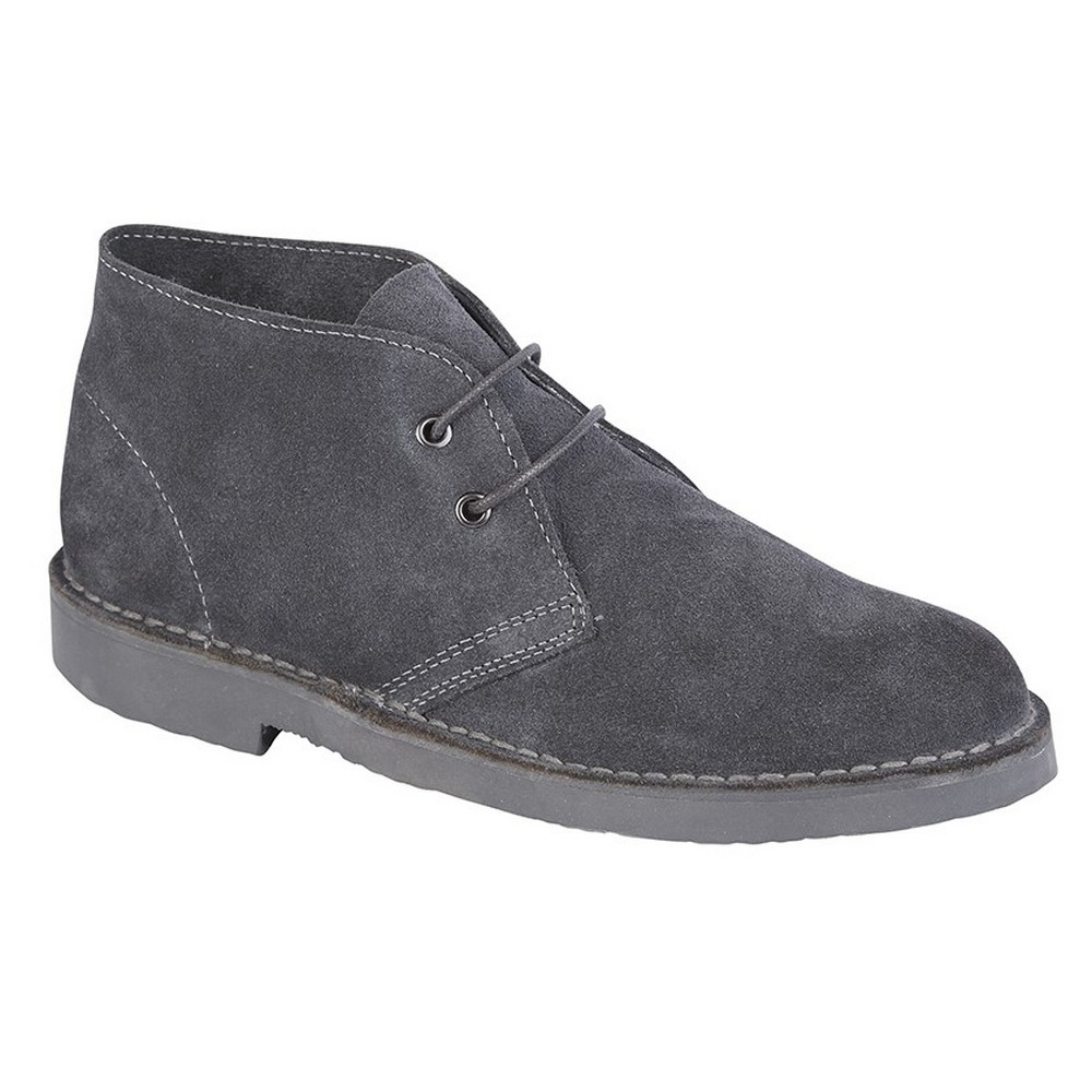 Roamers Adults Unisex Real Suede Unlined Desert Boots (8 UK) (Stone)