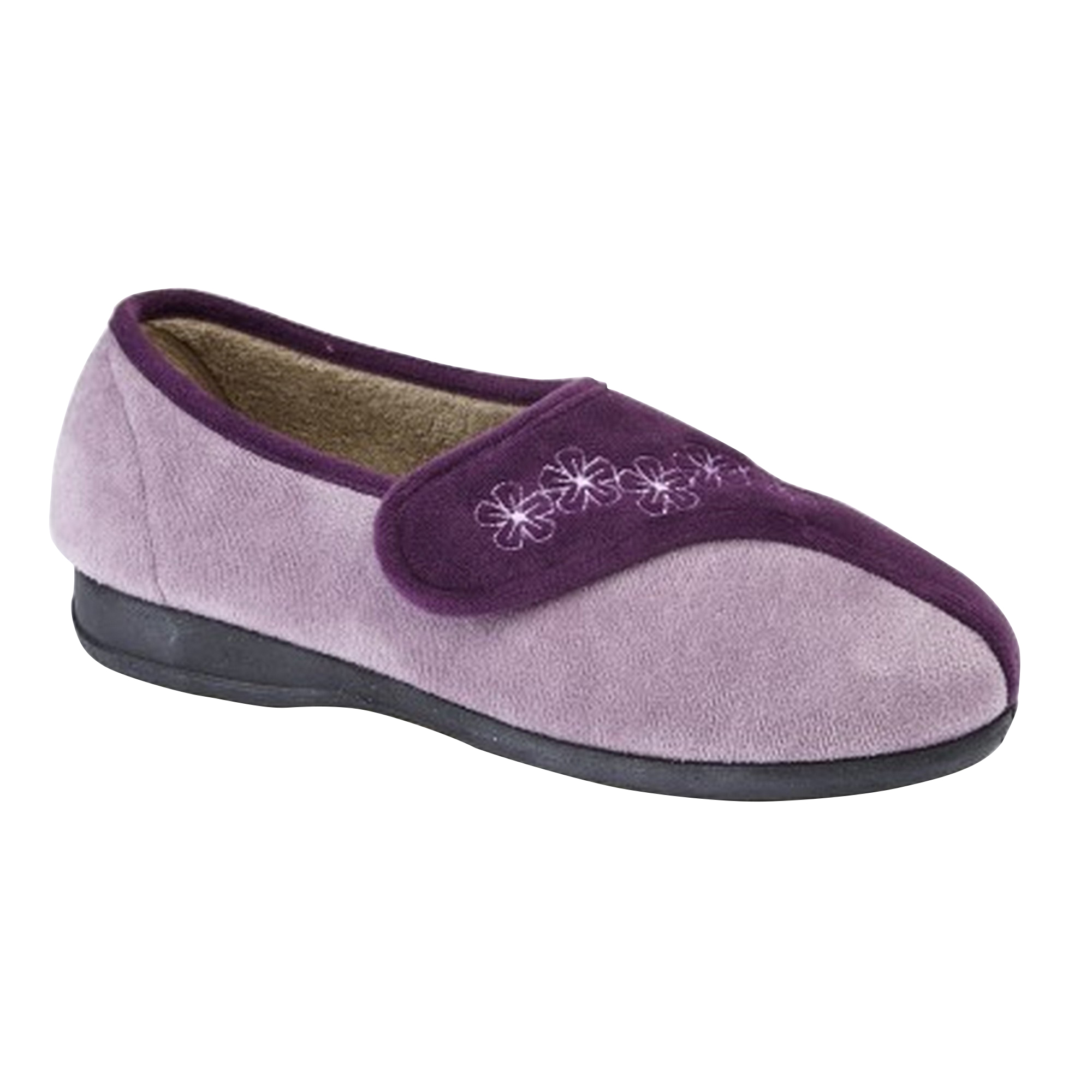 Sleepers Womens/Ladies Gemma Touch Fastening Embroidered Slippers (DF1347)