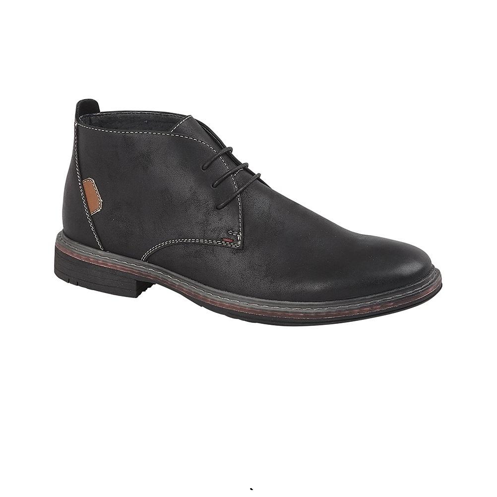 Goor Mens 3 Eye Synthetic Nubuck Desert Boots (12 UK) (Black)