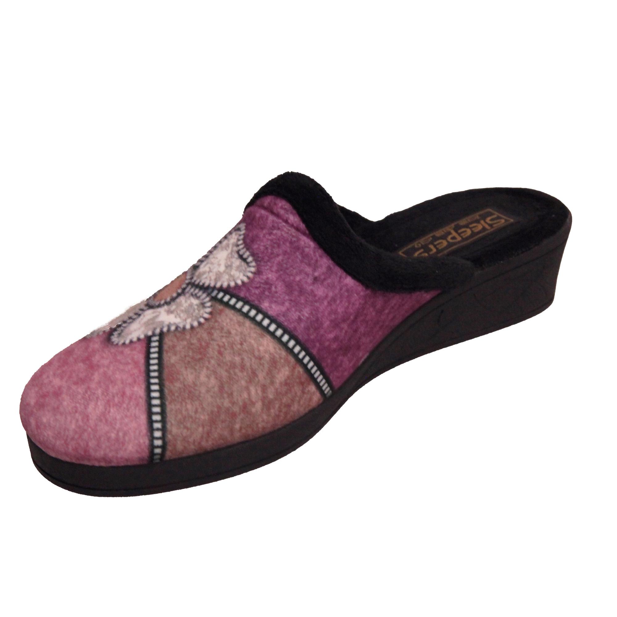 Sleepers Womens/Ladies Kimberly Flower Trim Mule Slippers (DF1430)