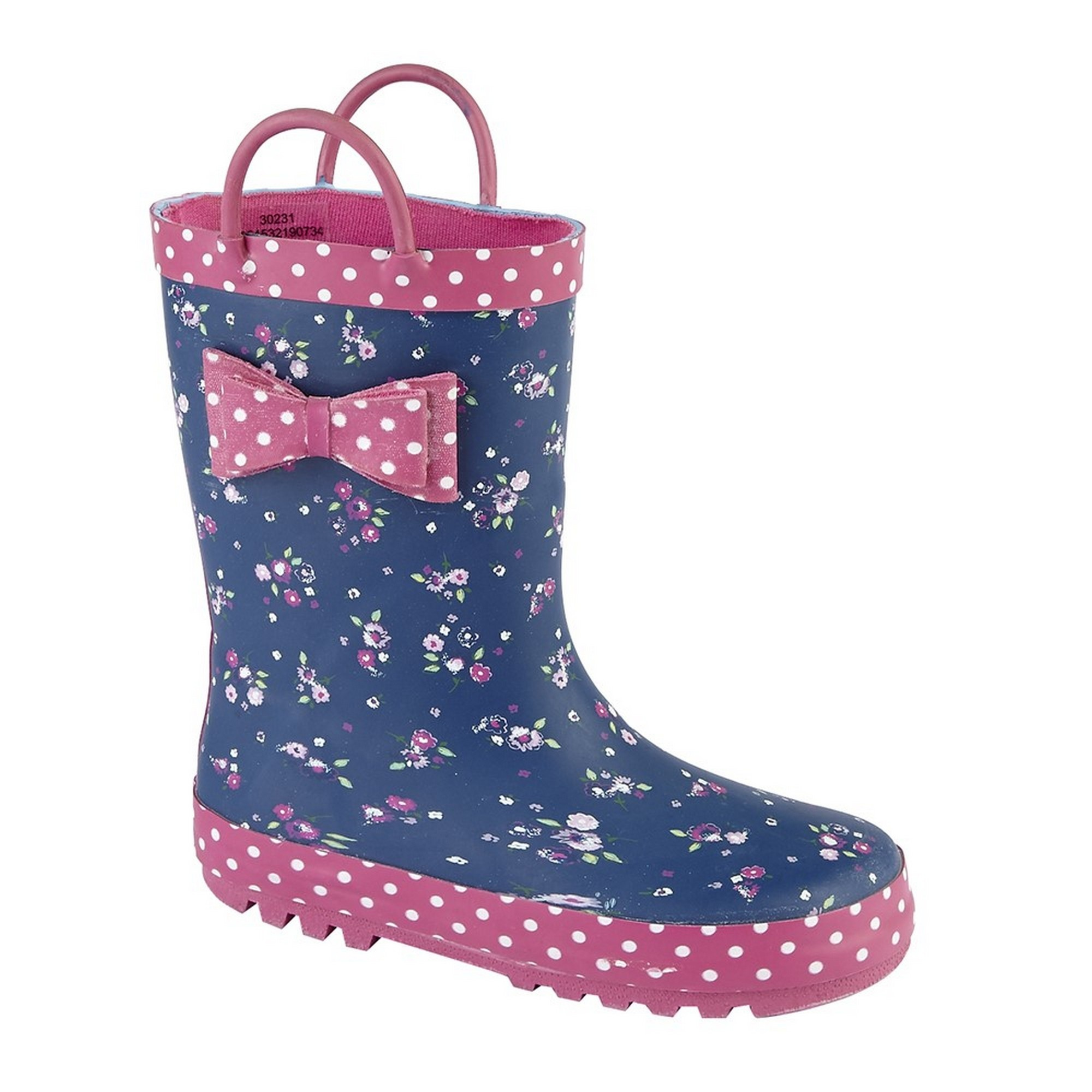 DF1699 Woodland Childrens Girls Bow Trim Pull On Wellington Boots